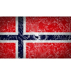 Flags norway with broken glass texture vector