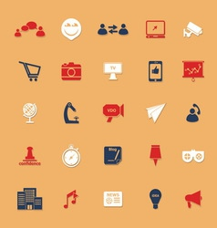 Media marketing classic color icons with shadow vector
