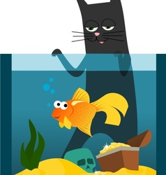 Black cat and goldfish vector