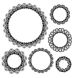 Set of crochet lacy frames vector