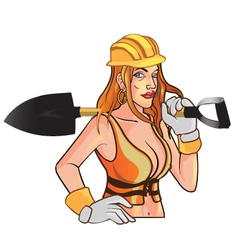 Sexy construction worker mascot vector