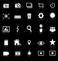Photography icons with reflect on black background vector