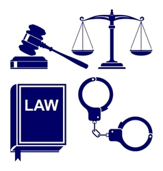 Law abstract icon set vector