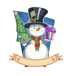 Snowman with gift vector