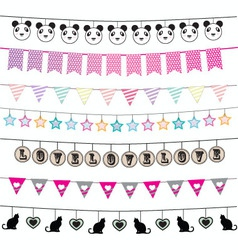 Colorful bunting and garland design set vector