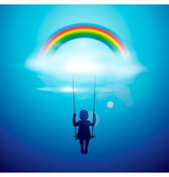 Little girl on a swing under the rainbow vector