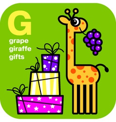 Abc grape giraffe gifts vector