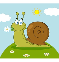 Cartoon snail with a flower in its mouth on a hill vector