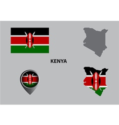 Map of kenya and symbol vector