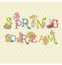 Colorful spring text vector