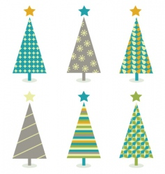 Retro christmas trees icon set vector
