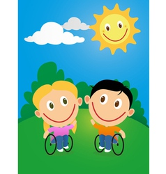 Wheelchair children vector