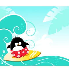 Surfing penguin vector