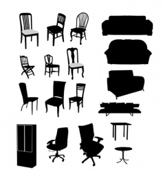 Silhouettes of furniture vector