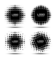 Set of abstract halftone logo design elements vector
