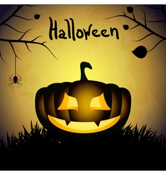 Halloween background with silhouette of pumpkin vector