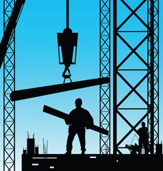 Constuction worker silhouette at work vector