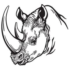 Head of rhino black white vector