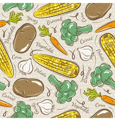 Background with broccoli corn and potato vector