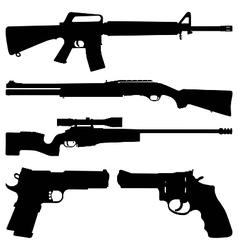 Gun silhouettes vector