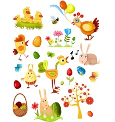 Easter elements set vector