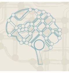 Retro circuit board form of brain vector