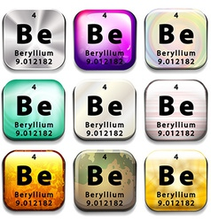 A button showing the element beryllium vector