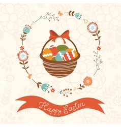 Cute easter card with basket vector