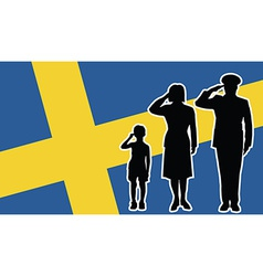 Sweden soldier family salute vector