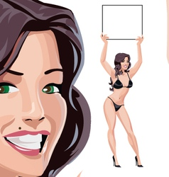 Round girls in black bikini vector