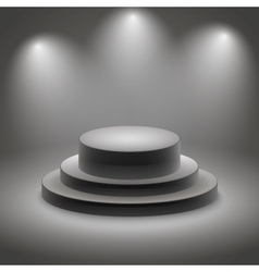 Black empty illuminated podium vector