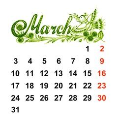 Calendar march 2014 vector