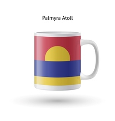 Palmyra atoll flag souvenir mug on white vector