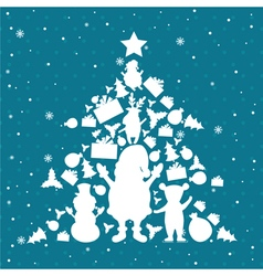 Christmas tree in christmas objects vector