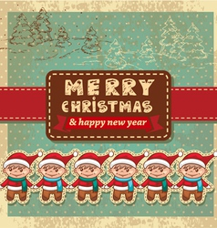 Retro vintage christmas card vector