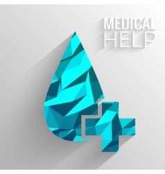 Polygonal medical blue cross background concept vector