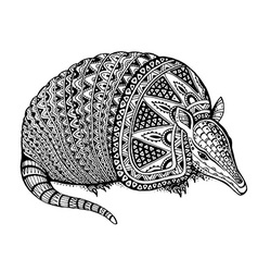 A totem animal - armadillo - in graphic b vector