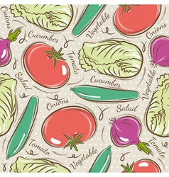 Background with tomato cucumber and salad vector