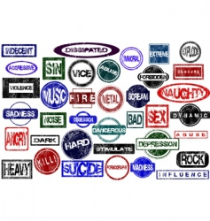 Rubber stamps with negative concepts vector