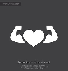Heart with muscle arms premium icon white on dark vector