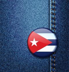 Cuba flag badge on jeans denim texture vector