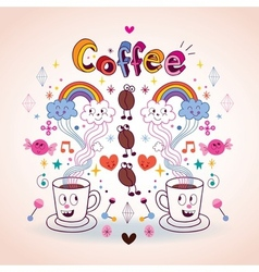 Coffee fun cartoon vector
