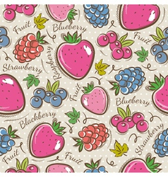 Background with strawberry and blackberry vector