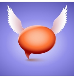 Speech bubble with wing symbol of love and vector