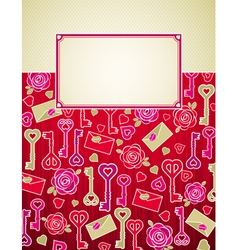 Valentine background with pink and red hearts vector