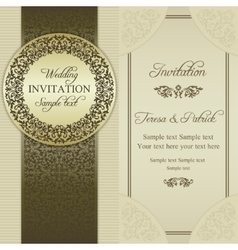 Baroque wedding invitation gold and beige vector