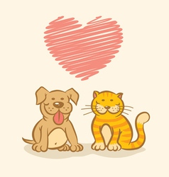 Cat and dog and heart vector