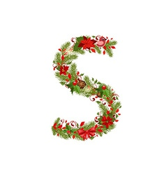 Christmas floral tree letter s vector