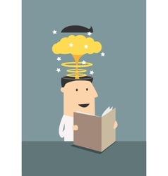 Businessman reading book with brain explosion vector