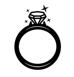 Black ring with diamond vector